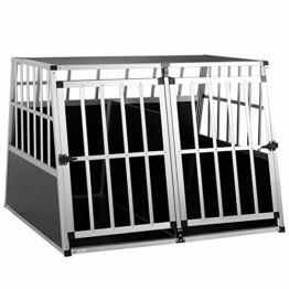 Cadoca Hundetransportbox XXL robust verschließbar aus Aluminium Autotransportbox Tiertransportbox 97x90x70cm - 1