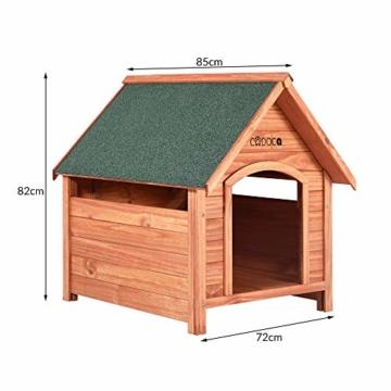 Cadoca XXL Hundehütte Hundehaus Hund Echtholz Holz Massiv Wetterfest Dachluke Spitzdach 82cm x 72cm x 85cm - 8