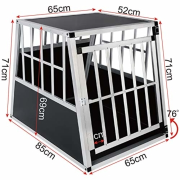 EUGAD 0046HT Hundebox Transportbox Hundetransportbox Alu Schwarz 85 x 65 x 69 cm - 2