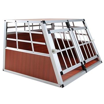 Jalano Doppel Hundetransportbox S Auto Gitterbox Hunde Alu Hundebox Kofferraum, Farbe:braun - 1