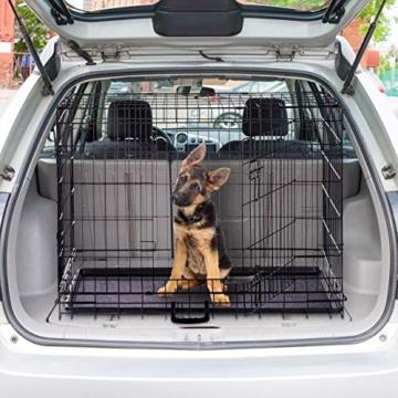 Relaxdays Hundekäfig, Faltbare Hundetransportbox, Welpenkäfig, 2 Türen, Bodenschale, Drahtkäfig Metall, XXXL, Schwarz - 2