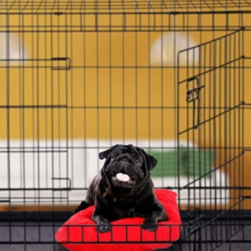 Relaxdays Hundekäfig, Faltbare Hundetransportbox, Welpenkäfig, 2 Türen, Bodenschale, Drahtkäfig Metall, XXXL, Schwarz - 5