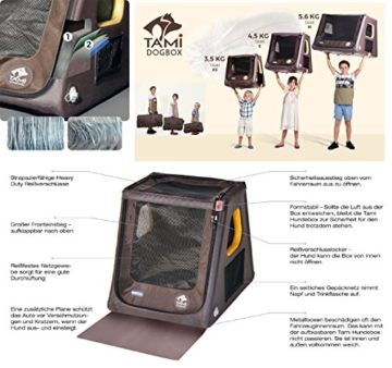 Tami - Hundetransportbox aufblasbar Tragebox Transportbox Hundebox Reisebox Autotransportbox Kofferraumbox Gitterbox Käfig Hund Box Dogbox inflatable inkl. Dog-Vital Bio-Hundekeks (Backseat L) - 6